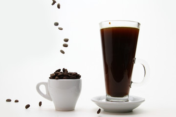 brewed coffee and hot coffee
