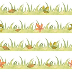 Seamless border with grass and leaves. Watercolor painting. Element for design, Isolated on white