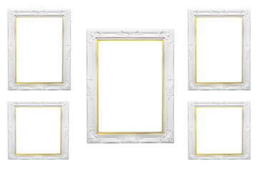 Vintage gold oval picture frame isolated with background...
