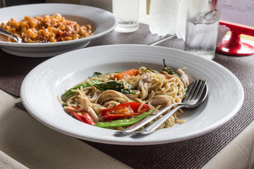 Spicy Spagetti in white dish,Thailand food
