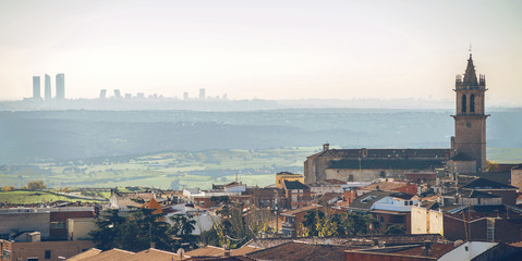 Panoramic view of Colmenar Viejo, a small town in Madrid, Spain