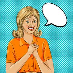 Wow bubble pop art surprised woman face. Pop Art illustration of a comic style, girl speech bubble.