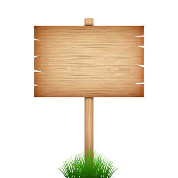 empty wood sign board  in green grass on white background