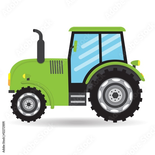 Up The Tractor Green Tractor With Bucket Cartoon : Quot cartoon green flat vector tractor vehicle farm icon on