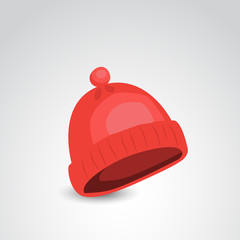 Red, wool, knit, winter hat vector icon.