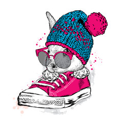 Cute rabbit with glasses and a hat with a bubo. Hare sitting in sneakers. Vector illustration for greeting card, poster, or print on clothes. Fashion & Style.