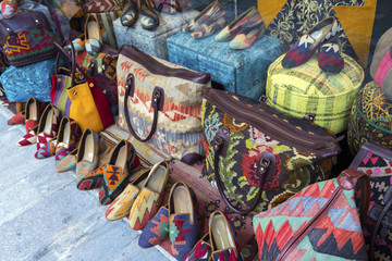 Market stall with turkish shoes and bags at Grand Bazaar, Istanb