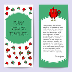 Stock cards template for children's birthday party. Flat bird design. Rounded rectangle green and red rooster, cock. Symbol of year 2017. Template for poster, banner, greeting card, invitation.