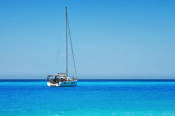 Sailing ship luxury yacht in the Sea.