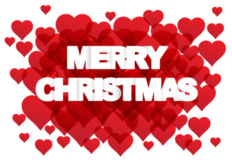 Vector greeting postcard  Merry Christmas with text and hearts