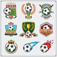 Soccer Football labels, emblems and design elements. Vector set.