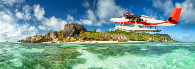 Seaplane with Seychelles island