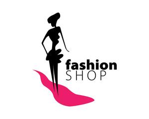Girls and clothing fashion shop logos vector
