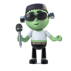 3d Chile frankenstein monster singing with a microphone