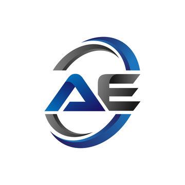 Simple Modern Initial Logo Vector Circle Swoosh ae