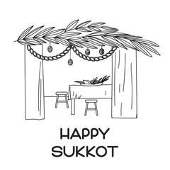 Sukkah with table, food and Sukkot symbols. Happy Sukkot in Hebrew. Vector illustration