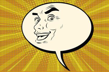 Comic bubble smiley joyous male face