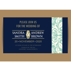Navy blue floral wedding invitation card