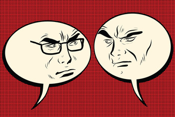 Two angry men talking. Comic bubble smiley face