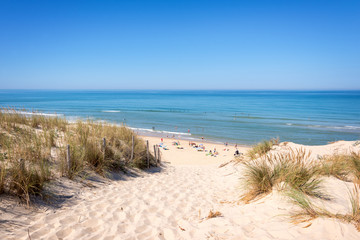 The dune and the beach of Lacanau, atlantic ocean, France