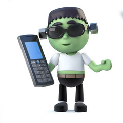 3d Child frankenstein monster holding a mobile phone