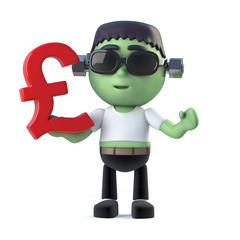 3d Child frankenstein monster has UK Pounds currency symbol