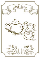 Design signboard for cafe with ribbon and tea cup with kettle
