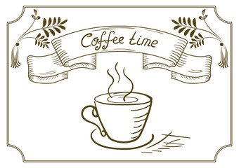Design signboard for cafe with ornament, coffee cup in style han