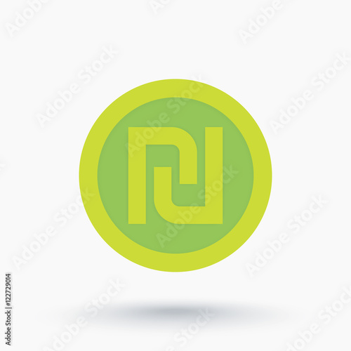 Shekel Israeli Money Symbol Coin Icon On White Stock Image And