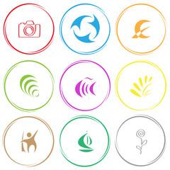 camera, recycle symbol, monetary sign, hanoi pyramid, fish, plan