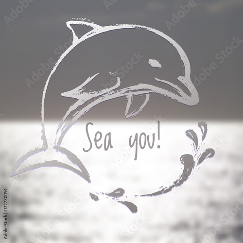 Ink hand drawn dolphin on blurred sea background