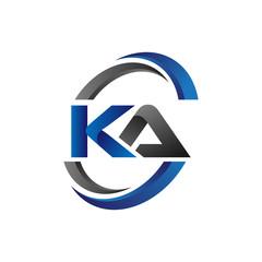 Obraz Simple Modern Initial Logo Vector Circle Swoosh ka - fototapety do salonu