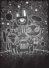 Hand drawn Crazy doodle Monster City,drawing style