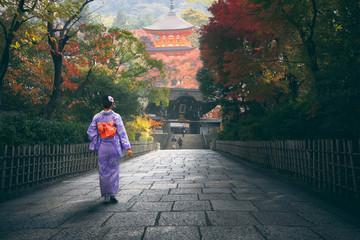 Japanese woman walking to red pagoda, Japan