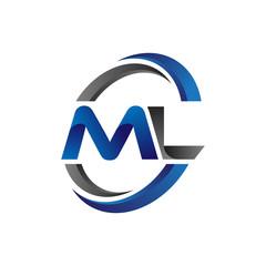 Simple Modern Initial Logo Vector Circle Swoosh ml