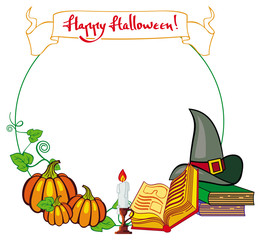 Halloween frame with witch hat, magician books and candlestick. Copy space. Vector clip art.