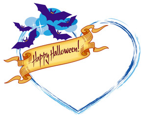 """Heart shaped frame with flying bats and artistic written text:""""Happy Halloween!"""". Halloween background for greeting cards, invitations, prints.Vector clip art."""