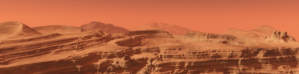 panorama of the Martian landscape. mountains on Mars.