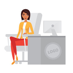Business woman, office manager at computer desk. Vector character.
