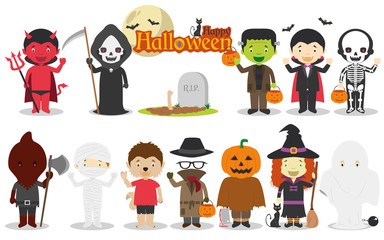 Set of Children´s Halloween characters, including Dracula, Frankenstein, devil, witch, skeleton, pumpkin, mummy and more. Vector illustration
