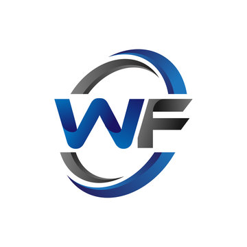 Simple Modern Initial Logo Vector Circle Swoosh wf