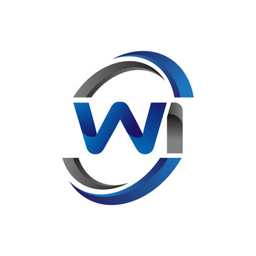 Simple Modern Initial Logo Vector Circle Swoosh wi