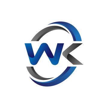Simple Modern Initial Logo Vector Circle Swoosh wk