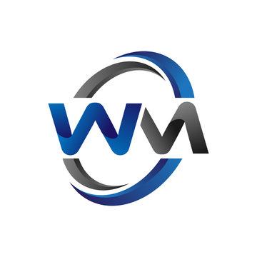Simple Modern Initial Logo Vector Circle Swoosh wm