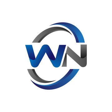 Simple Modern Initial Logo Vector Circle Swoosh wn