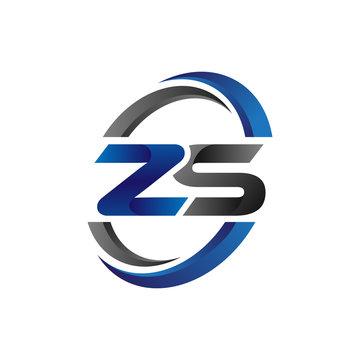 Simple Modern Initial Logo Vector Circle Swoosh zs