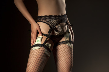 Money, garter, sexy panties and fishnet stockings on dark background