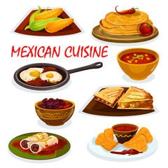 Mexican cuisine national dishes icon
