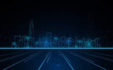 abstract tower cityscape blue light line design tech sci fi concept background