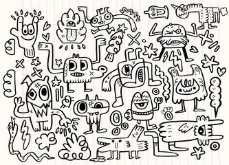 Monsters and cute alien friendly, hand drawn monsters collection